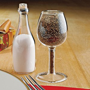 Wine Glass and Bottle Salt & Pepper Shakers (Set of 2)