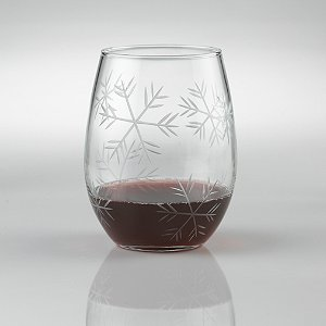 Etched Snowflake 'U' Stemless Tumblers (Set of 2)