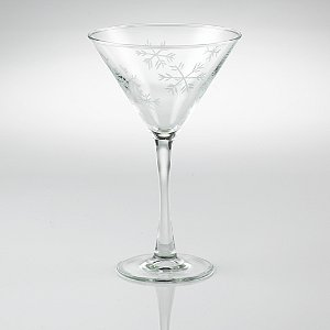 Etched Snowflake Martini Glasses (Set of 2)