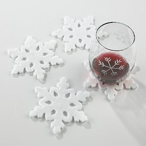 Etched Snowflake Felt Coasters (Set of 4)