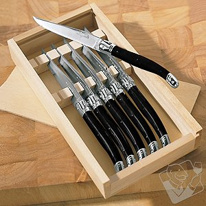 Jean Dubost Laguiole 6-Piece Steak Knives (Black)