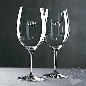 Personalized Riedel Vinum Cabernet/Merlot/Bordeaux Wine Glasses (Script) (Set of 2)