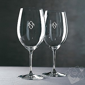 Monogrammed Riedel Vinum Cabernet/Merlot/Bordeaux Wine Glasses (Diamond Block) (Set of 2)