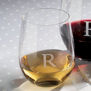 Personalized Riedel 'O' Chardonnay/Viognier Stemless Wine Glasses (Set of 2)