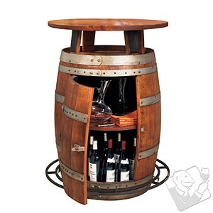 Vintage Oak Wine Barrel Bistro Table