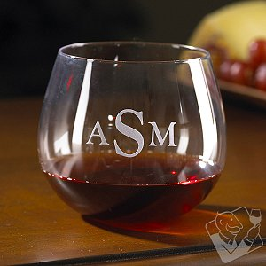 Monogrammed Wine Enthusiast U Pinot Noir Stemless Wine Glasses (Set of 2)