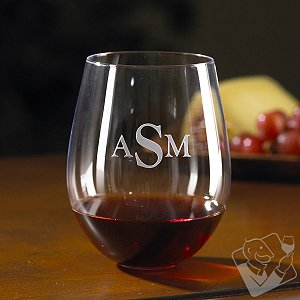 Monogrammed Wine Enthusiast U Cabernet/Merlot Stemless Wine Glasses (Set of 2)