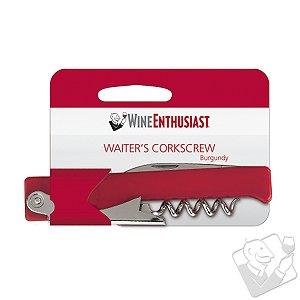 Wine Enthusiast Waiter Style Corkscrew (Burgundy)