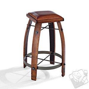 Vintage Oak Wine Barrel Bar Stool with Leather Seat