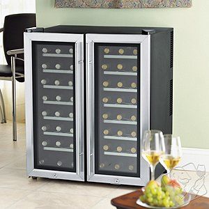 Wine Enthusiast Silent 48 Bottle Double Door Dual Zone Wine Refrigerator (Stainless Steel Trim Door)