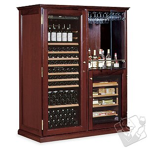 EuroCave Performance 283 Double Elite Wine Cellar & Humidor (1-Temp) (Mahogany - Glass Door)