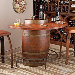 Vintage Oak Half Wine Barrel Bar & Stools with Leather Seats