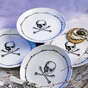 Skull & Crossbones Porcelain Appetizer Plates (Set of 4)