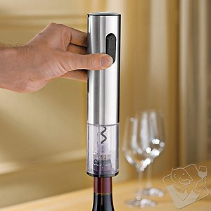 Wine Enthusiast Electric Push-Button Corkscrew (Stainless Steel)