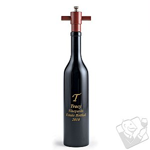 Personalized Wine Bottle Pepper Mill (Ebony)