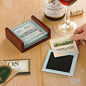 Glass Wine Label Coasters