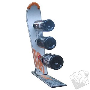 3-Bottle Recycled Snow Ski Wine Rack