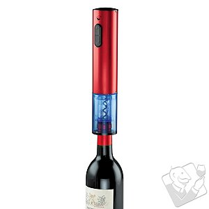 Wine Enthusiast Electric Push-Button Corkscrew (Red Stainless Steel)