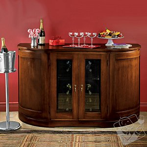 Italian Demilune Wine Console with 24 Bottle Touchscreen Wine Refrigerator