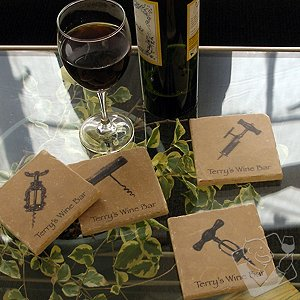Personalized Old World Corkscrew Coasters