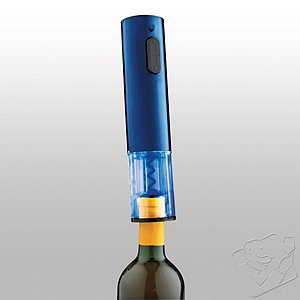 Cobalt Blue Stainless Steel Electric Push-Button Corkscrew