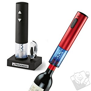 Wine Enthusiast Electric Blue Push-Button Corkscrew Set
