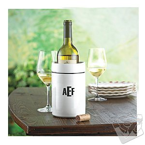 Personalized White Stoneware Wine Chiller