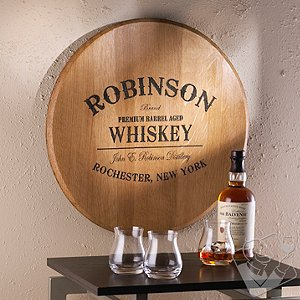 Authentic Barrel Head Wall Plaque With Personalized Whiskey Theme