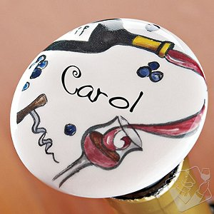Personalized Handpainted Red Wine Bottle Stopper