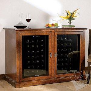 Siena Mezzo Wine Credenza (Walnut) and Two 28 Bottle Touchscreen Wine Refrigerators