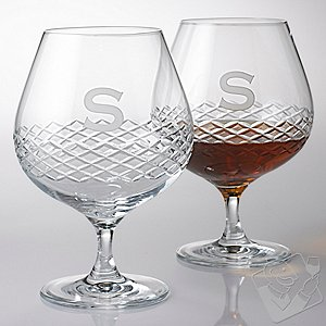 Personalized Brandy Glasses with Diamond Band (Set of 2)