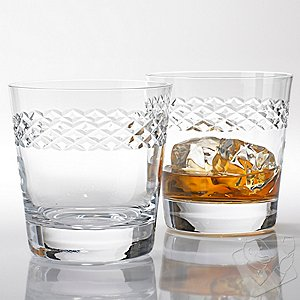 Double Old Fashioned Glasses With Diamond Band (Set of 4)