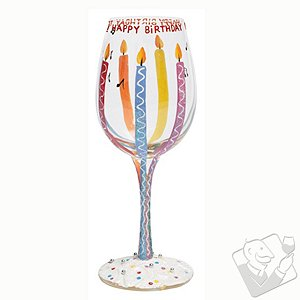 Happy Birthday Candle Wine Glass