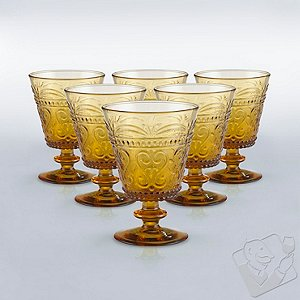 Italian Provenzale Amber Short Stem Glasses (Set of 6)