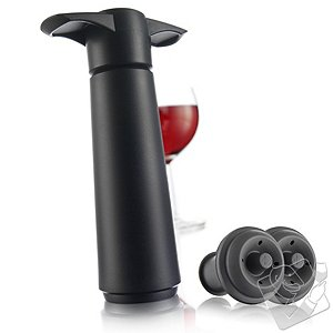 Vacu Vin Wine Saver Display Pack (1 Pump 2 Stoppers) (Black)