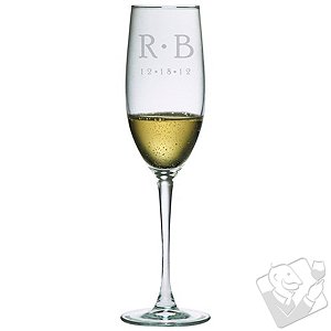 Personalized 8 oz Connoisseur Champagne Flutes (Set of 2) DOT Mongram