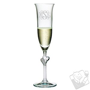 Personalized L'Amour Champagne Flutes (Set of 2) Three Letter Vine
