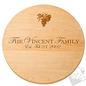 Personalized Maple Lazy Susan with Grape Imprint (18 inches)