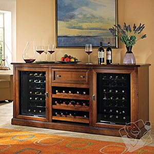 (OUTLET) Siena Wine Credenza with 28 Bottle Touchscreen Wine Refrigerator