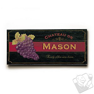 Personalized 'Family of fine wine lovers' Wooden Chateau Sign (Charcoal)