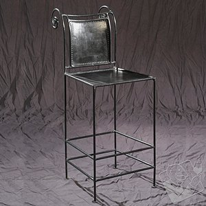 30 inch Leather and Iron Pub Stool