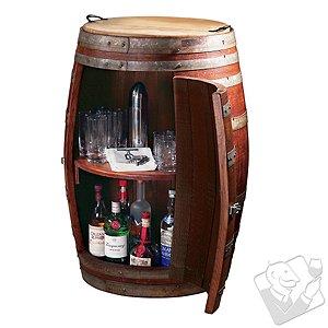 Vintage Oak Barrel Wine Cabinet