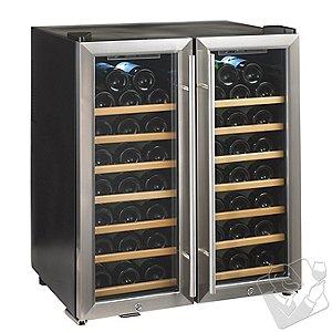 Wine Enthusiast Silent 48 Bottle Double Door Dual Zone Wine Refrigerator (Stainless Steel Trim Door) (Wood Front Shelves)