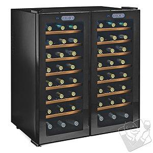 Wine Enthusiast Silent 48 Bottle Touchscreen Double Door Dual Zone Wine Refrigerator (Smoked Glass Doors) (Wood Front Shelves)