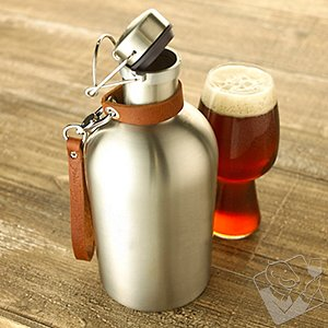 Stainless Steel Beer Growler with Leather Carry Strap