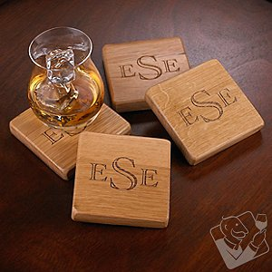 Monogrammed Reclaimed Barrel Stave Coasters (Set of 4)