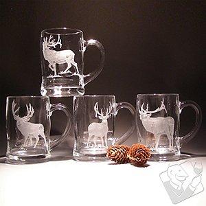 Etched Elk Beer Mugs (Set of 4)