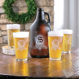 Personalized Shield Growler and Pint Glasses Set
