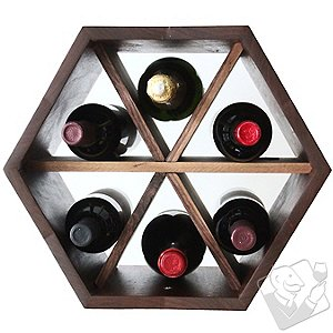 Honeycomb Modular Wine Rack with Dividers (Walnut)
