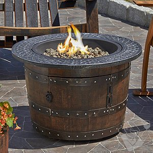 Reclaimed Whiskey Barrel Fire Pit